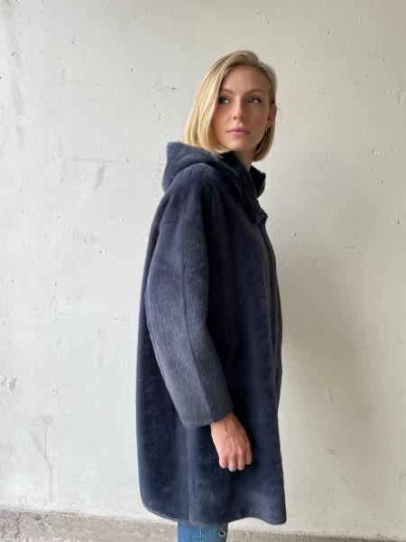 PRIDE TO BE Fake-Fur Kurz-Mantel MAREN mit Kapuze